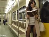 Jeny Smith Subway Pussy Flash Seamless Pantyhose