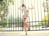 Jeny Smith Bottomless Public Flash, No Skirt , No Panties