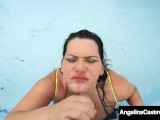 Curvy Cuban BBW Angelina Castro Mouth Fucks Dick In Pool!