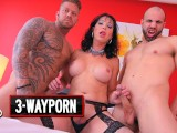 3-Way Porn – Two Guy On A TGirl Double Anal