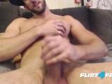 Bearded Bro Strokes His Uncut Cock Until It Blows