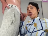 Mom Gives Stepson His First Blowjob Ever! Deepthroat MILF Makes StepSon Cum Down Her Throat!