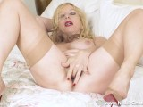 Big Tits Blonde Milf Lucy Gresty Wanks Off In Vintage Girdle And Stockings