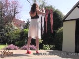 Sexy Milf Nylon Jane Teases Her Stockings Legs Feet And Ass On Laundry Day