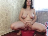 Pissing And Pushing Apples Out Of Her Pussy Busty Mature Milf